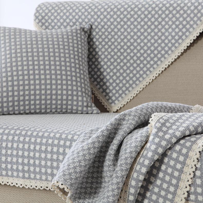 棉麻沙发垫四季通用防滑坐垫布艺沙发套罩一套靠背巾垫子北欧套装