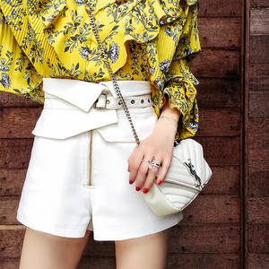 Alice&W花花 2017新款褲子女夏休閑褲高腰短褲顯瘦修身闊腿熱褲