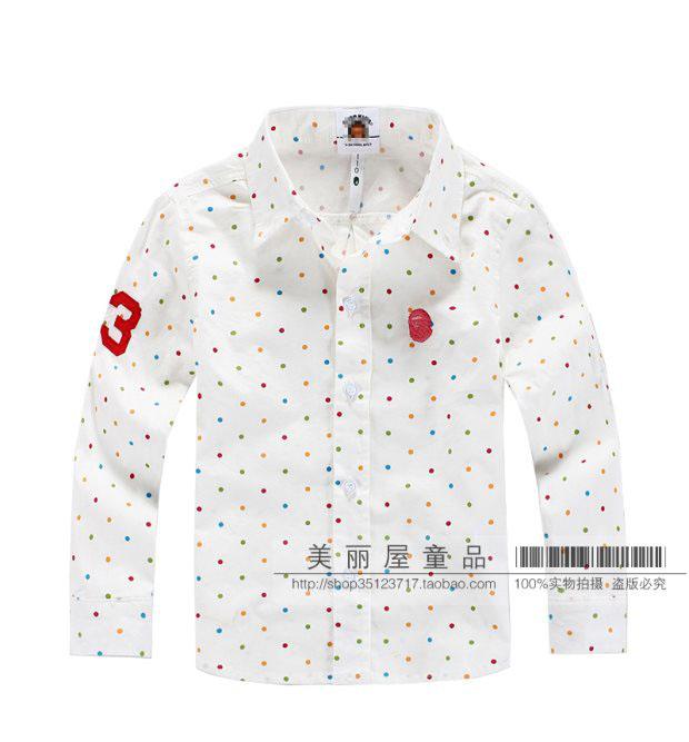 特男童儿童衬衣纯棉白衬衣圆点点长袖衬衣外衫最后一件100码包邮