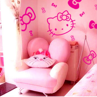 麦朵墙贴 蝴蝶结kitty卡通儿童卧室贴沙发客厅创意贴纸 背景墙贴
