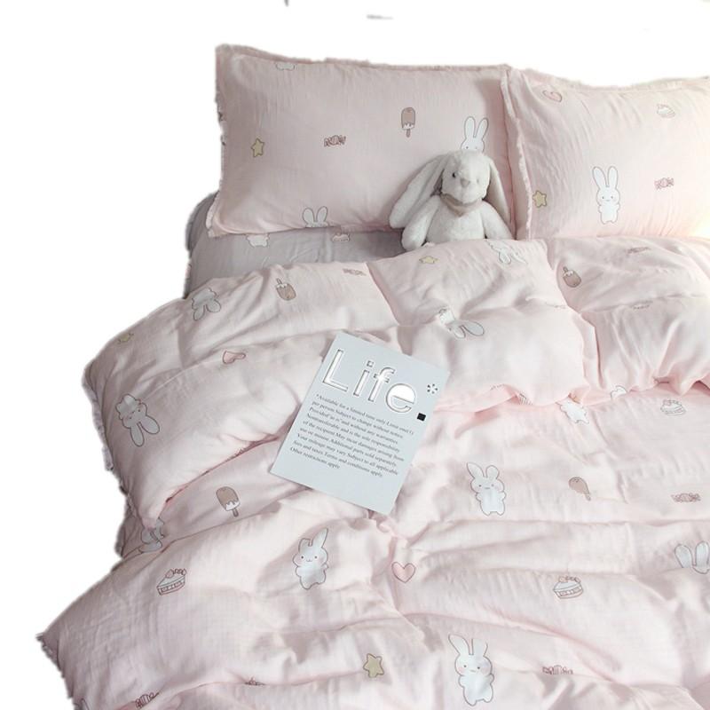 小清新裸睡全棉双层纱四件套卡通可爱纯棉三件套被套床单床上用品