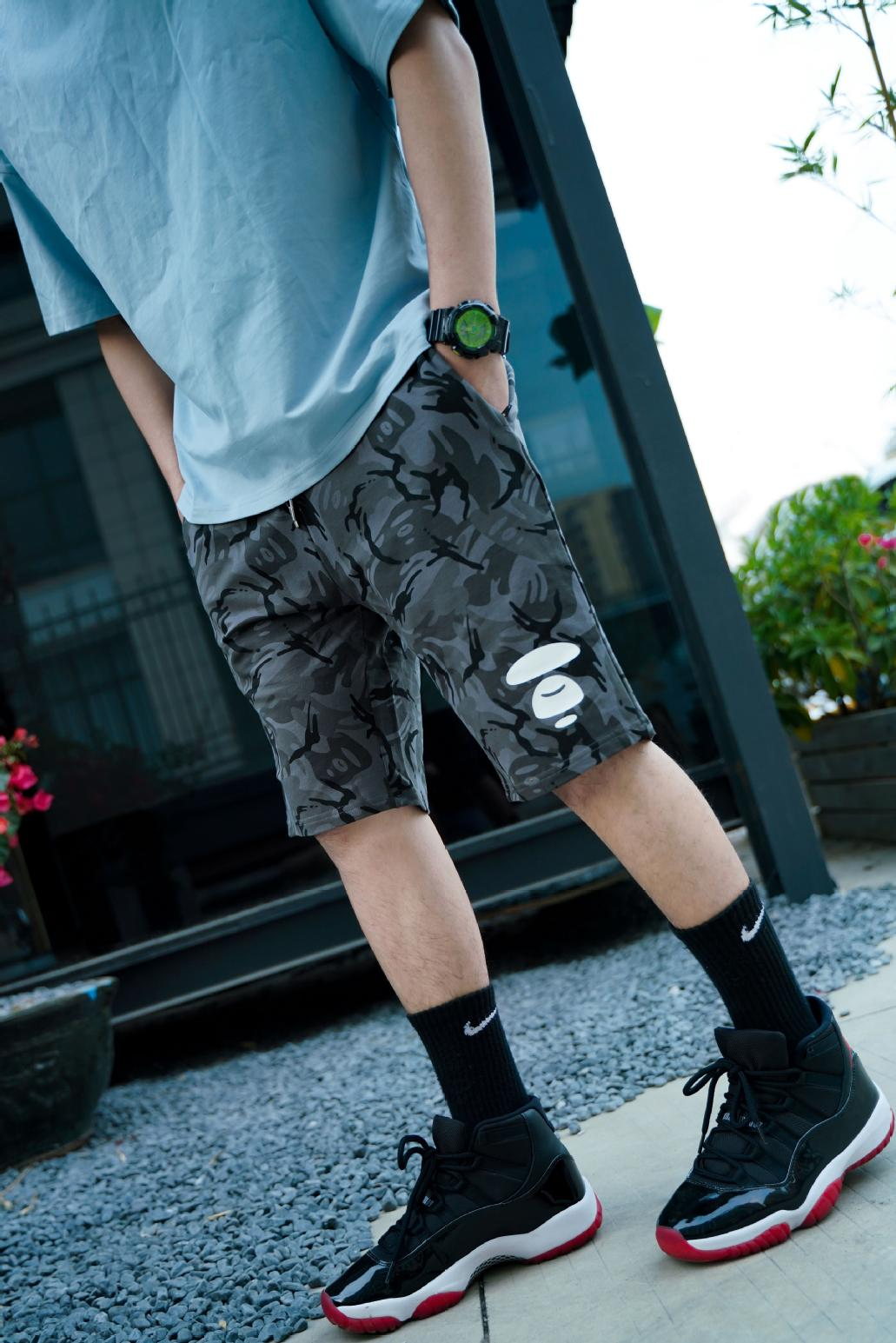 Lpby original summer camouflage mens shorts ape head trend pure cotton letter leisure