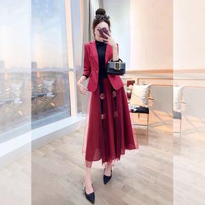 套装裙两件套秋冬时尚职业2019新款半身裙名媛女装小香风西装套装