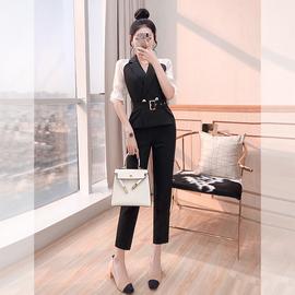 赫本风套装轻熟风职业装时尚夏装2020新款女裤子气质小西装两件套