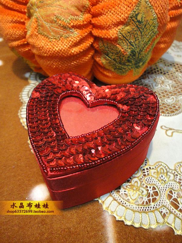 Внешняя торговля ручной работы украшенный бусами блестки сердце шкатулка счастливый сахарница мусор в коробку декоративный коробка рождество подарок