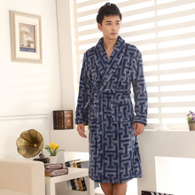 Karl billow authentic new men flannel gown Big yards of coral fleece bathrobe More fashionable male pajamas