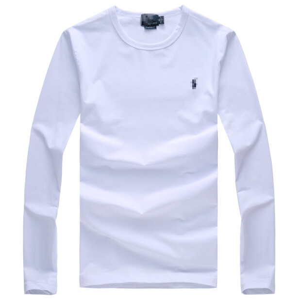 Autumn and winter European and American classic pure cotton backing shirt foreign trade original single pony ball solid color round neck fashion mens long sleeve T-shirt