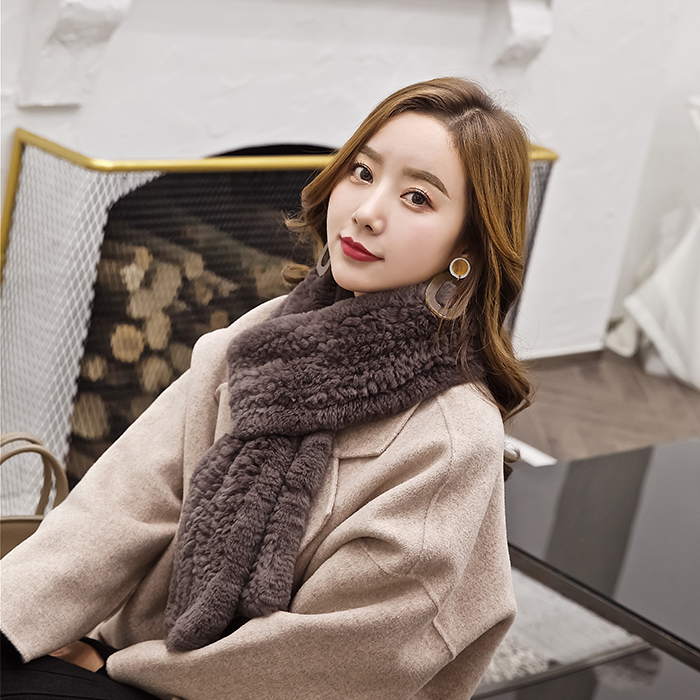 Winter new products for men and women double-sided encryption thick knitting Rex Rabbit Fur Scarf Korean version long neck lovers