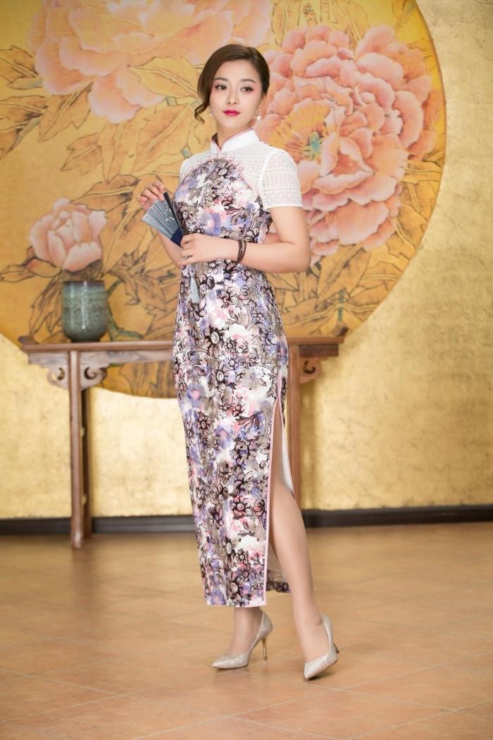 专柜正品梦至超2017新款春夏M17Y310高贵优雅长款中国风丝绒旗袍