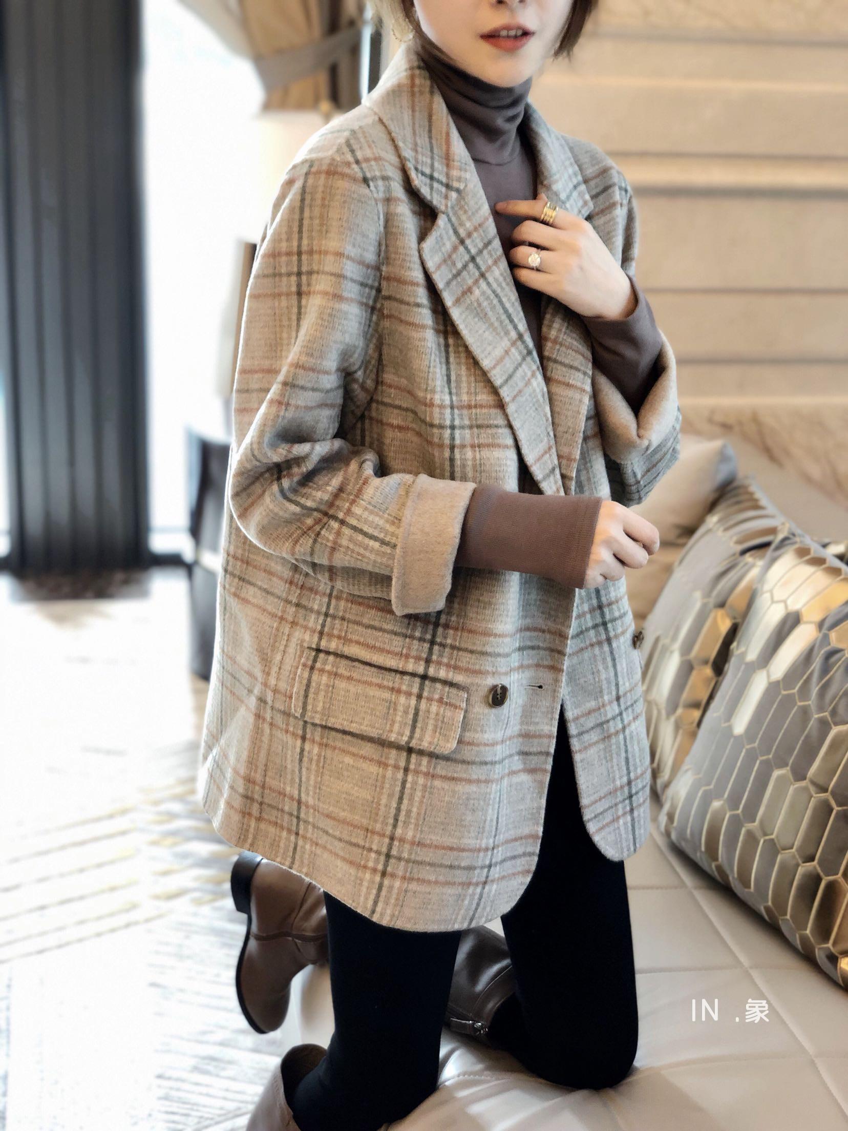 格子小西装双排扣双面羊绒大衣女短款2020春秋新款流行毛呢外套薄图片
