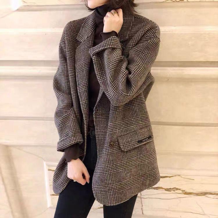 反季清仓欧洲站格子宽松短款西装双面羊绒大衣女赫本风薄毛呢外套图片
