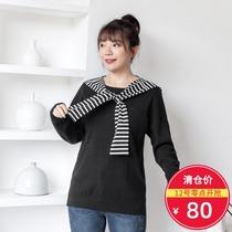 【清仓80元】大码女装2019秋装 宽松圆领大口袋毛织套头衫1843018