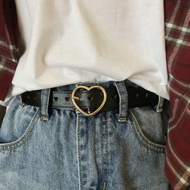 夏日小甜心皮带CHIC一整条都是爱心孔免打孔腰带学生百搭韩版裤带