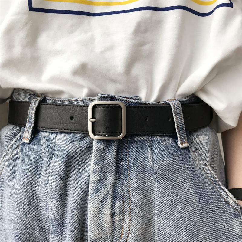 韩国2021年新款皮带正方形哑光银色实心扣头黑腰带chic风宽女士潮