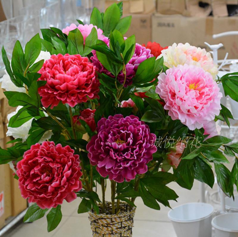 Специальные высококачественные моделирования пион букет 3 комнаты пола украшения пластиковые свадебный цветок вечности цветок