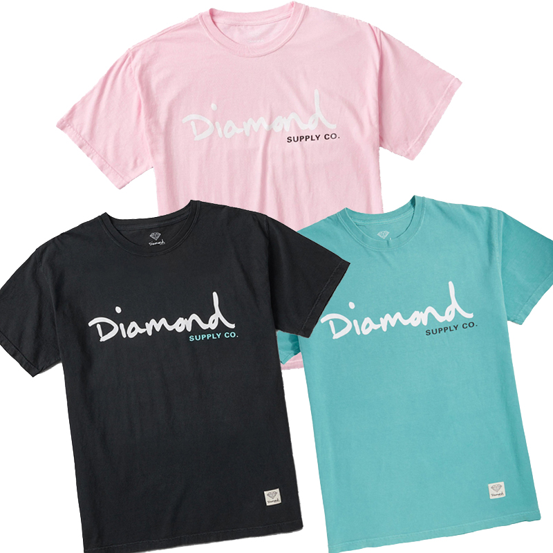 潮牌diamond supply  og script overdye经典字母logo INS短袖T恤