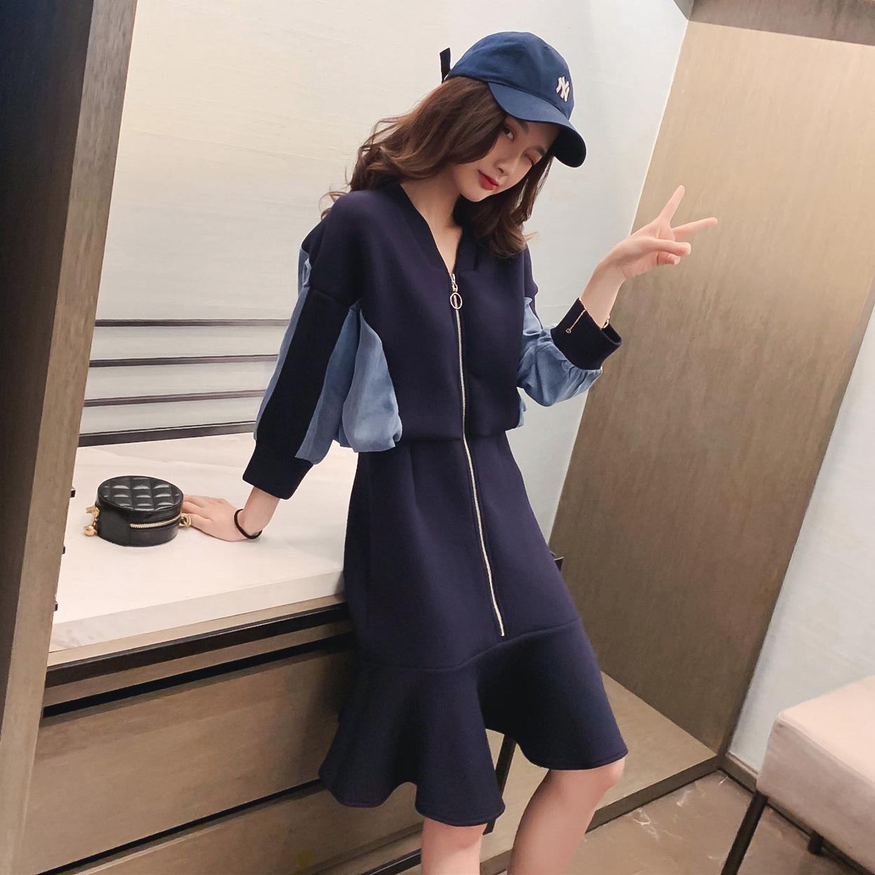 裙子女2019新款秋装韩版显瘦V领拼接牛仔连衣裙设计感小众鱼尾裙