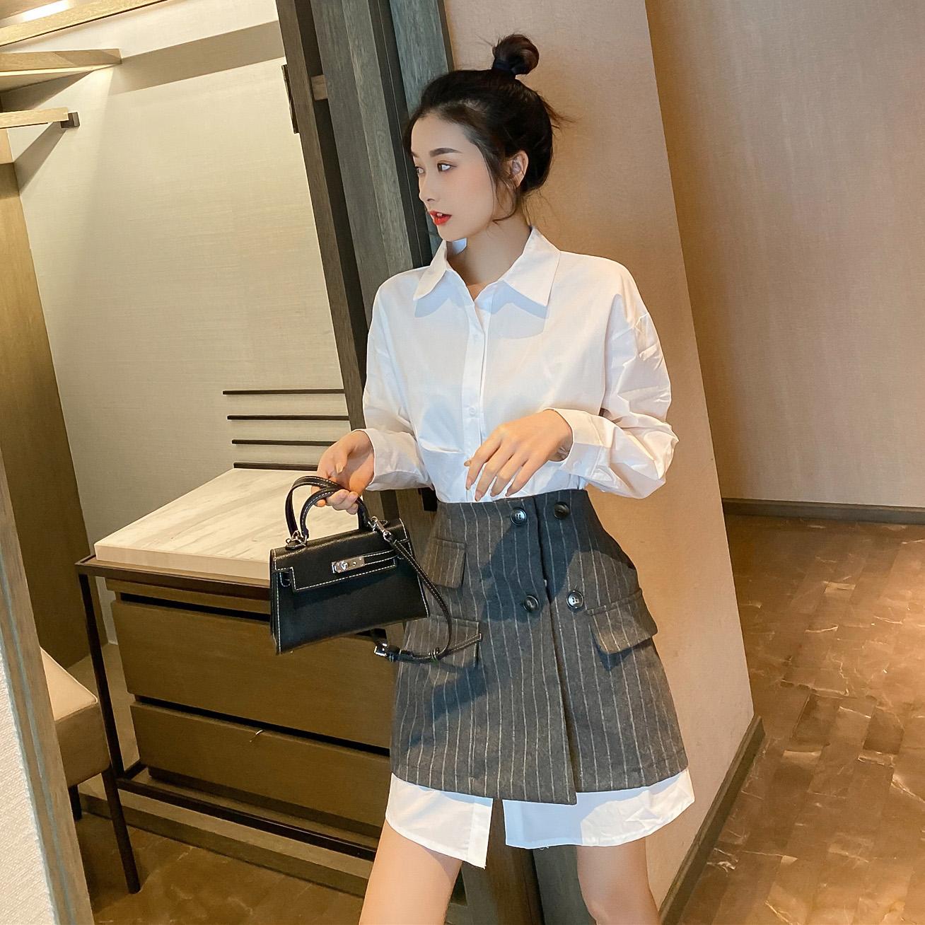 连衣裙女2020春季新款韩版设计感中长款白色衬衫配条纹短裙两件套