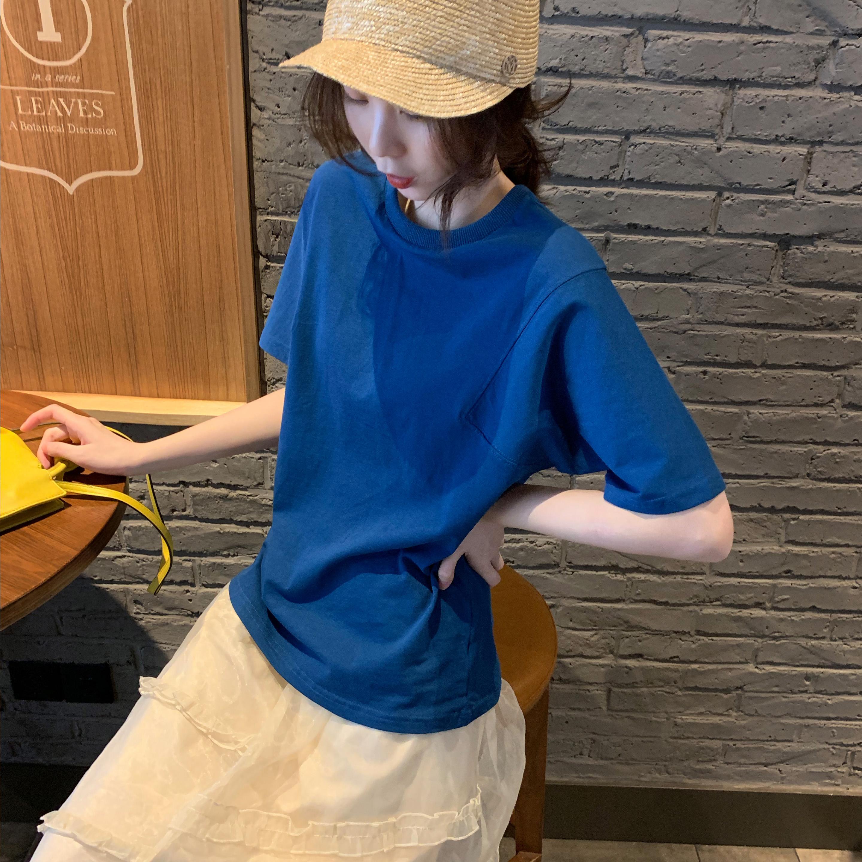 Tongse 纯色短袖t恤女2020夏装宽松简约百搭打底衫港风复古上衣