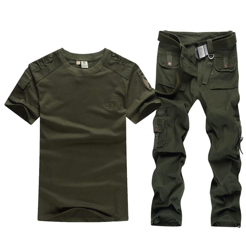 包邮夏季户外军迷特种兵作训套服男士短袖T恤套装工作服迷彩服