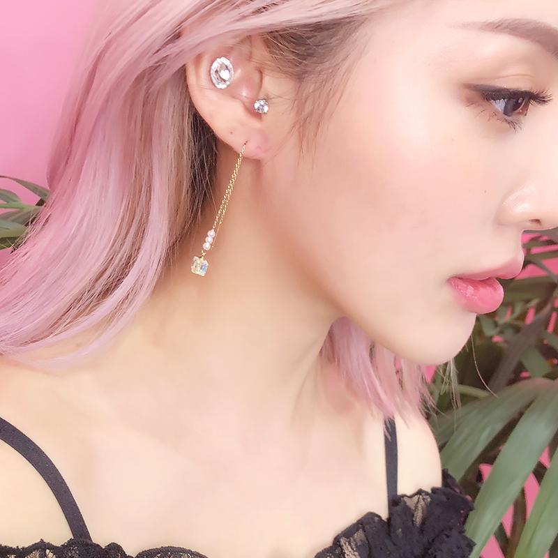 PONY超仙長款弔墜耳線耳環女韓國潮人網紅耳墜氣質顯臉瘦的耳飾品