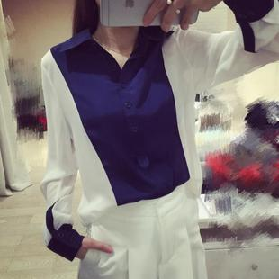 Spring new Oh also customize Chlo hit color lapel long sleeved chiffon shirt 0C0327