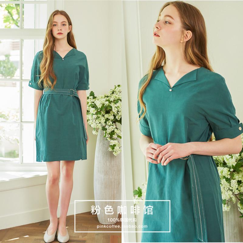 韩国直邮正品代购ROEM18夏款女款气质短袖连衣裙RMOW825R11