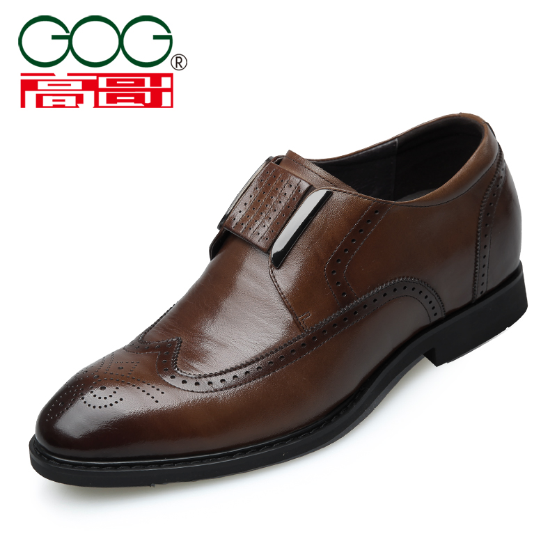 Gaoge high shoes mens inner high 6.5cm real leather shoes cover foot Brock business dress mens shoes ws88816