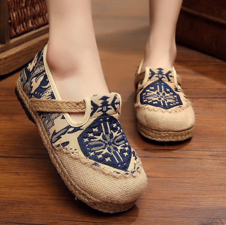 复古亚麻民族风女鞋圆头平底老北京帆布鞋休闲透气一脚蹬懒人单鞋