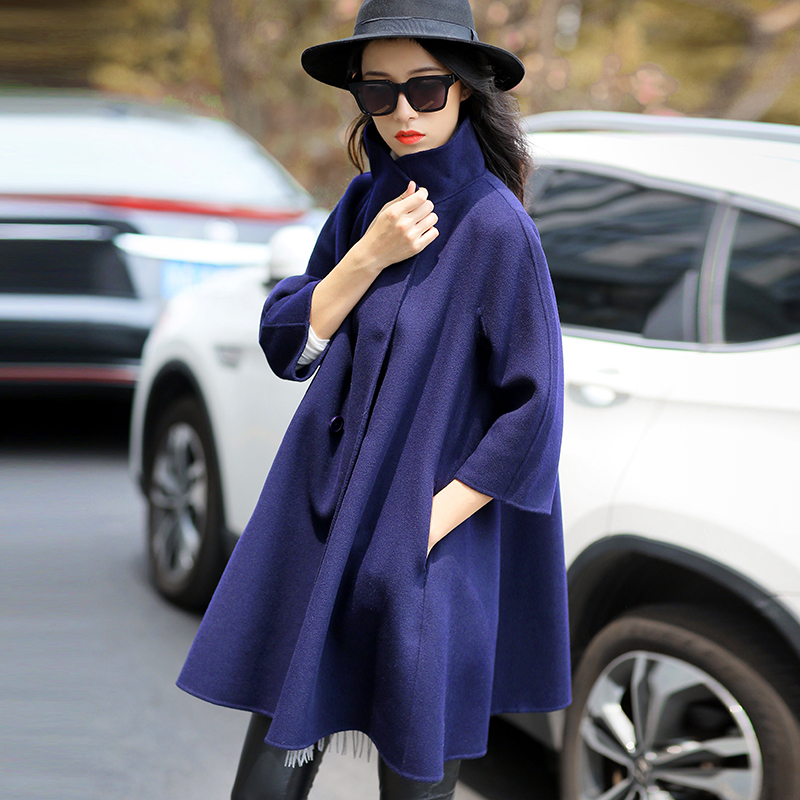 Clearance special double-sided cashmere overcoat women's new stand collar woolen Cape wool coat medium length
