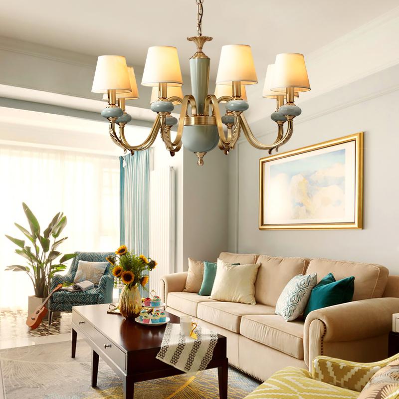 欧式吊灯奢华大气全铜吊灯客厅灯现代简约复古陶瓷灯卧室餐厅灯具
