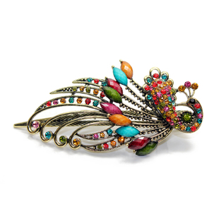 Gripper female classical European and American retro hair accessories headdress diamond hairpin cross chuck peacock hair clip edge clip duckbill