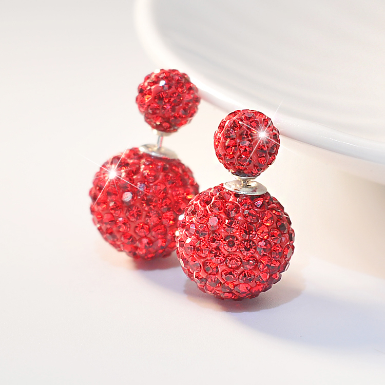 Buy one get one free S925 Sterling Silver Crystal Earrings with round diamond earrings on both sides