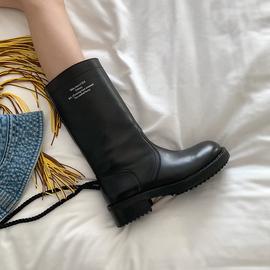 鞋大师阿希哥同款真皮中筒骑士靴女高筒皮靴厚底长筒马靴机车靴