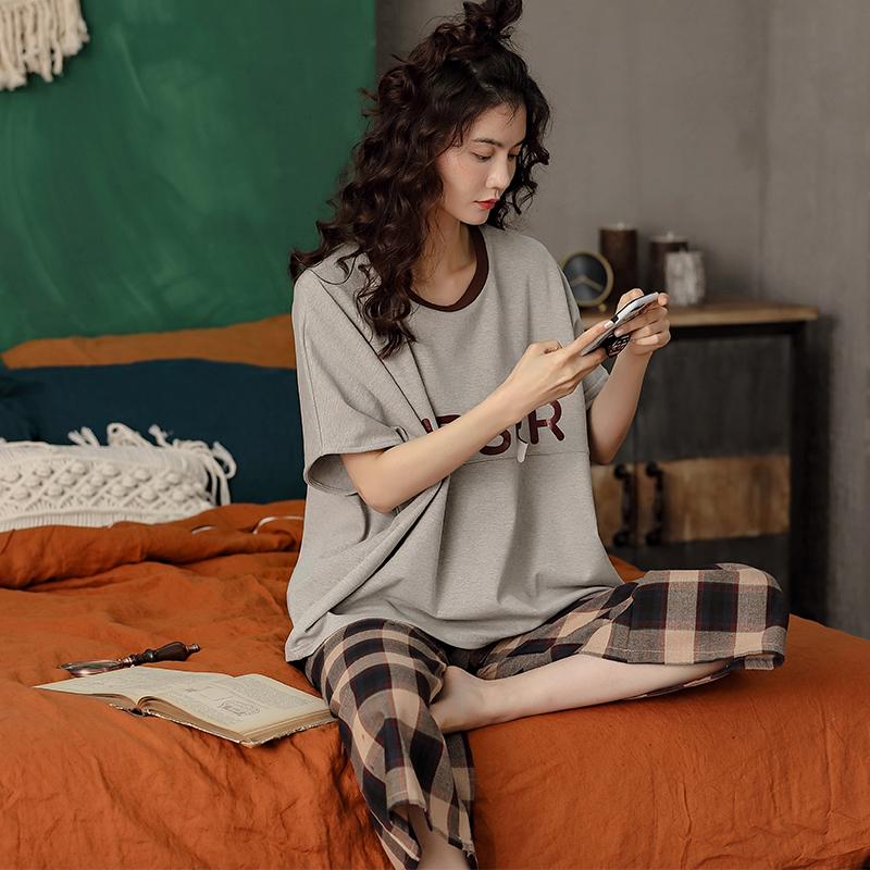 夏季睡衣女纯棉短袖八分裤宽松可外穿休闲薄款阔腿学生少女家居服