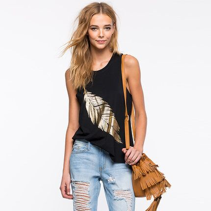 5183# express selling hot leaf pattern printed sleeveless top womens round neck sexy fashion suspender vest