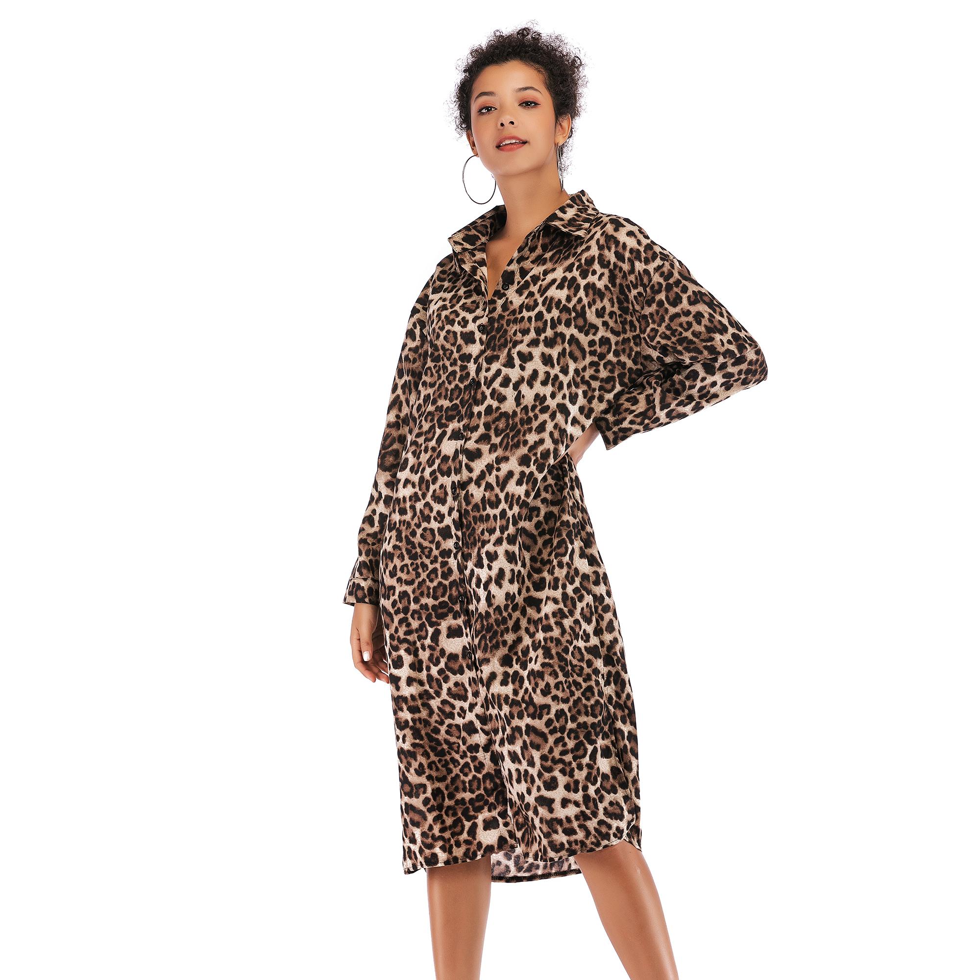 5925 ebay速卖通秋季新款女装 翻领系扣豹纹连衣裙修身开叉衬衫裙