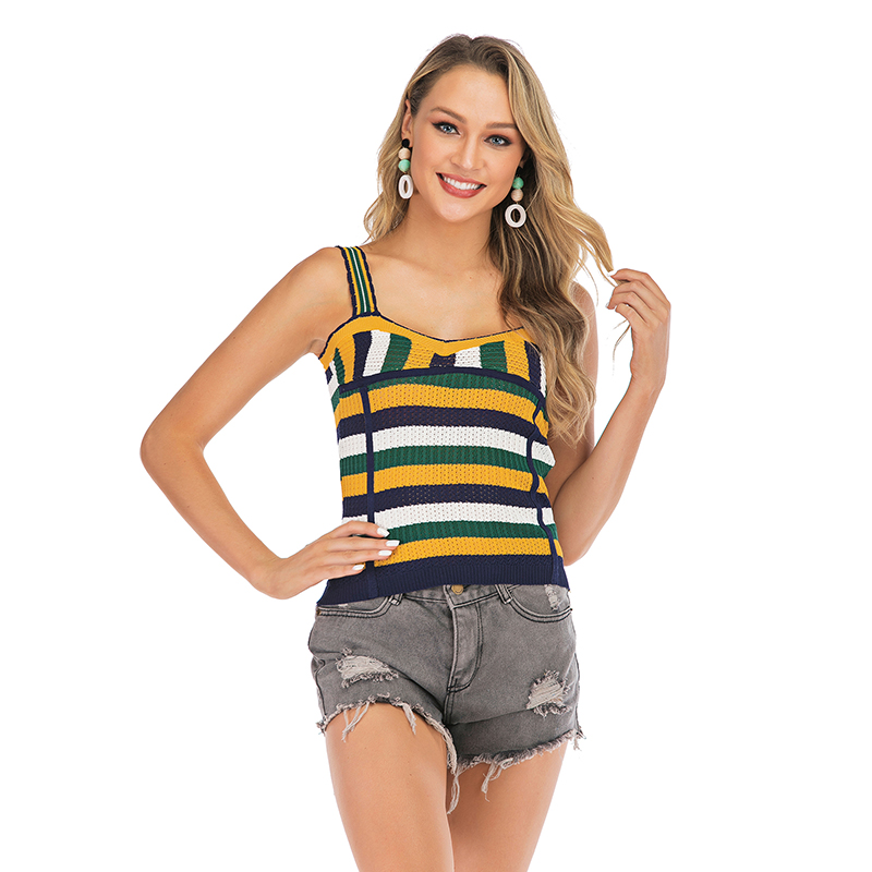 6031 fast selling womens new dynamic color matching horizontal stripe suspender knitwear sleeveless short vest top