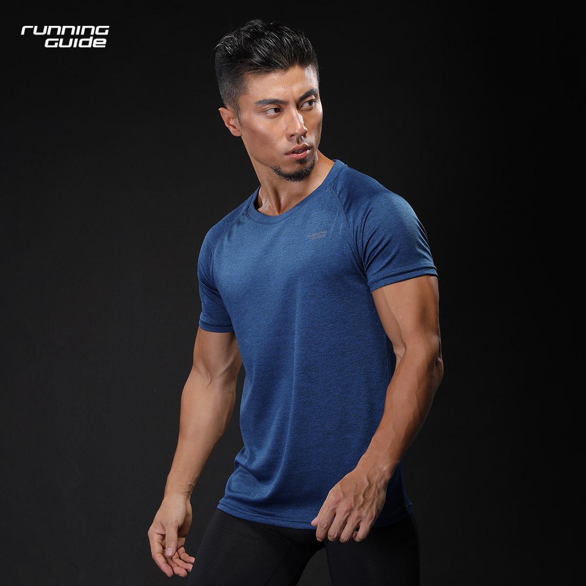 跑步指南 3631新品男款短袖T恤速干宽松薄款透气圆领针织夏季