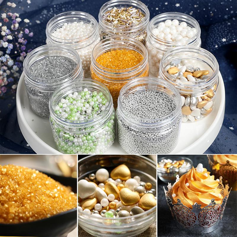 Золотой серебряный Украшение тортом из сахарного бука цвет Сахар, жемчужный сахар, съедобный с жемчужинами Ингредиенты для выпечки сахарного мороженого 100 г