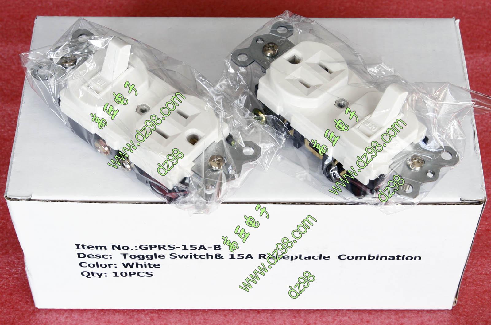 原装出口美国 开关插座一体 白色 120V 15A 美标 电源开关带插座