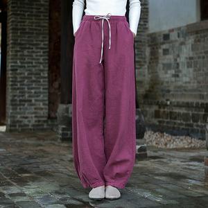 春夏亚麻太极裤女新款 系带太极拳服装练功裤晨练武术灯笼裤