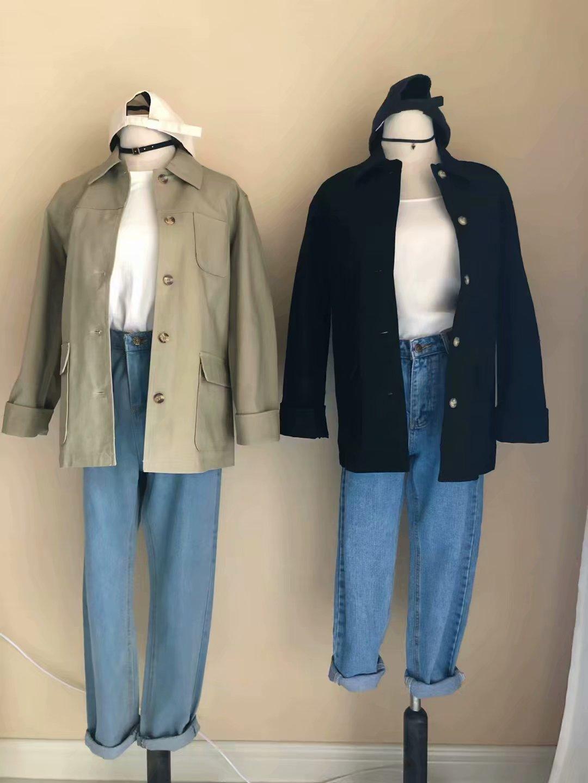 秋季牛仔布帆布外套休闲夹克
