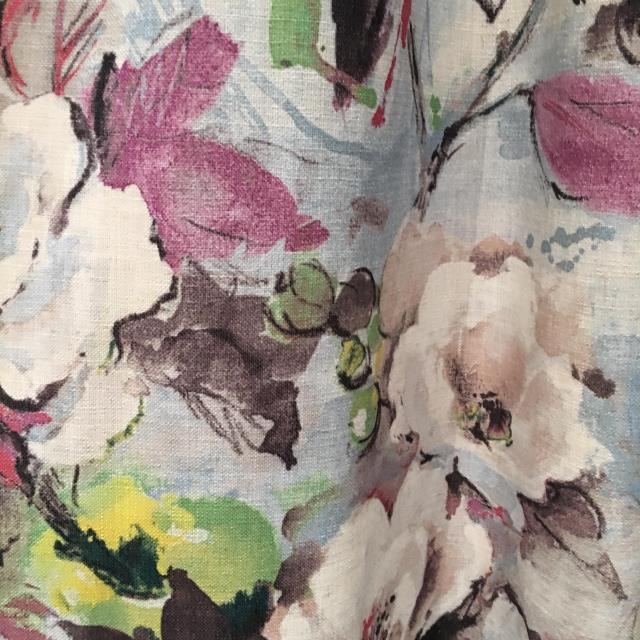 【贝瑞窗帘】美款水墨风格棉麻亚麻窗帘高档印花欧美窗雅致窗帘布