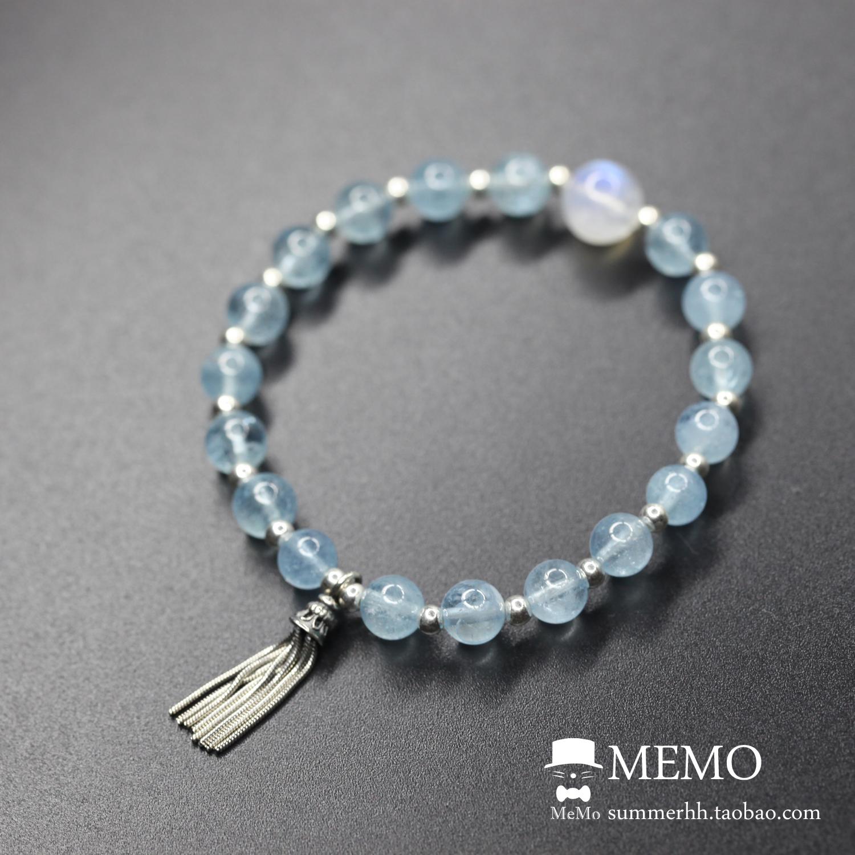 绅士猫MEMO 极度转运 达成目标 超冰种海蓝宝月光石手链
