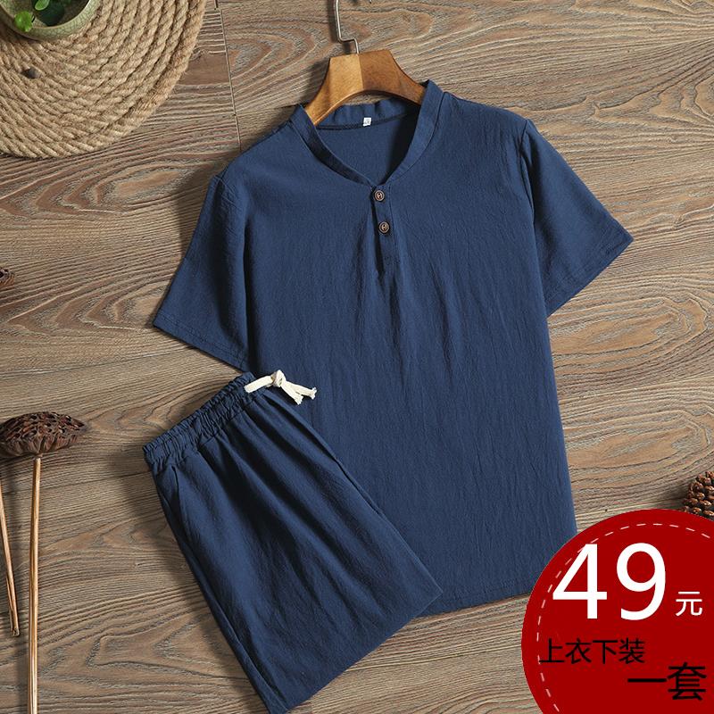 亚麻套装男夏季中年棉麻两件套中国风宽松休闲男装短袖大码T恤衫