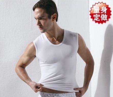 Mens fashion white round neck wide shoulder vest breathable U-shaped waistcoat sleeveless mens sweat absorbing slim fit sports vest