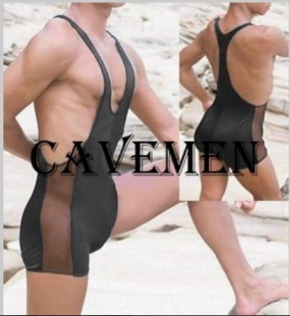 Mens sexy black side mesh one piece flat corner swimwear with joint swimwear Vest + flat corner pants one piece swimwear