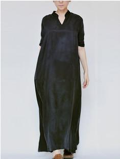 2020新款春夏立領寬鬆七分袖銅氨絲連衣裙長裙原創設計女裝大袍子