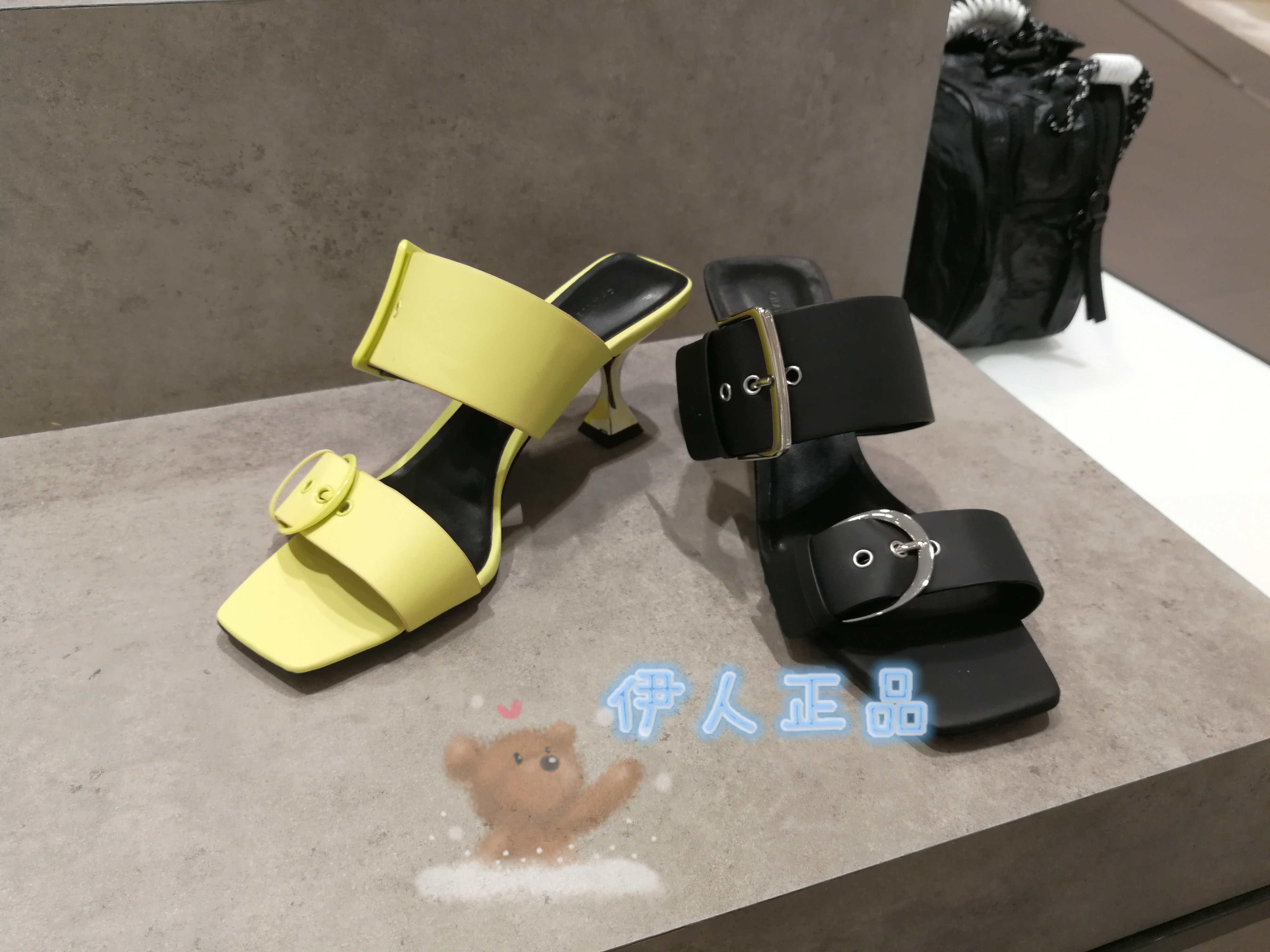 CHARLES&KEITH方扣袢带拖鞋CK1-60361163方头彩绘沙漏跟高跟凉鞋
